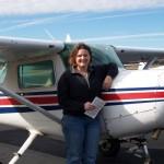 Mandi Lowe after a solo flight in N5144L
